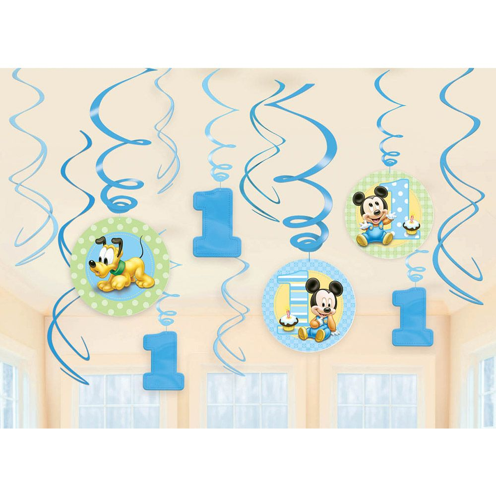 Mickey Mouse 1St Birthday Swirl Hanging Decorations (12 Pack) - Party Supplies BB679432