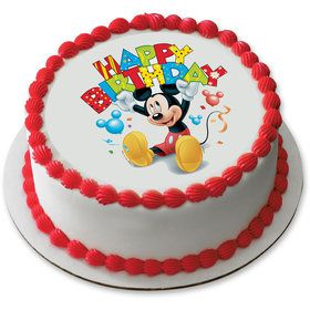 "Mickey Mouse Birthday 7.5"" Round Edible Cake Topper (Each)"