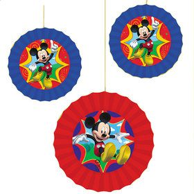 Mickey Mouse Paper Fan Decorations (3 Count)