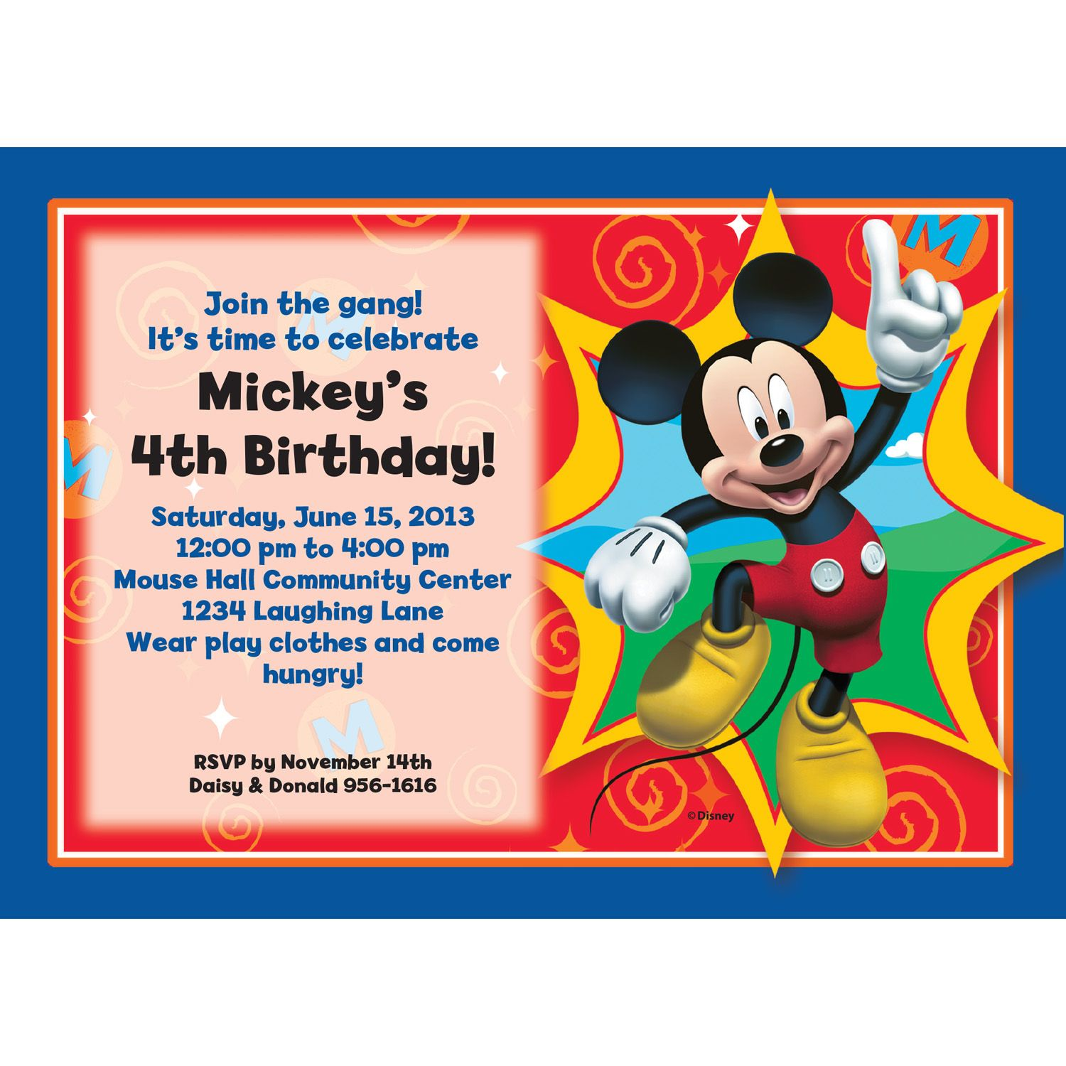 Mickey Mouse Personalized Invitation (Each) BB1333IN
