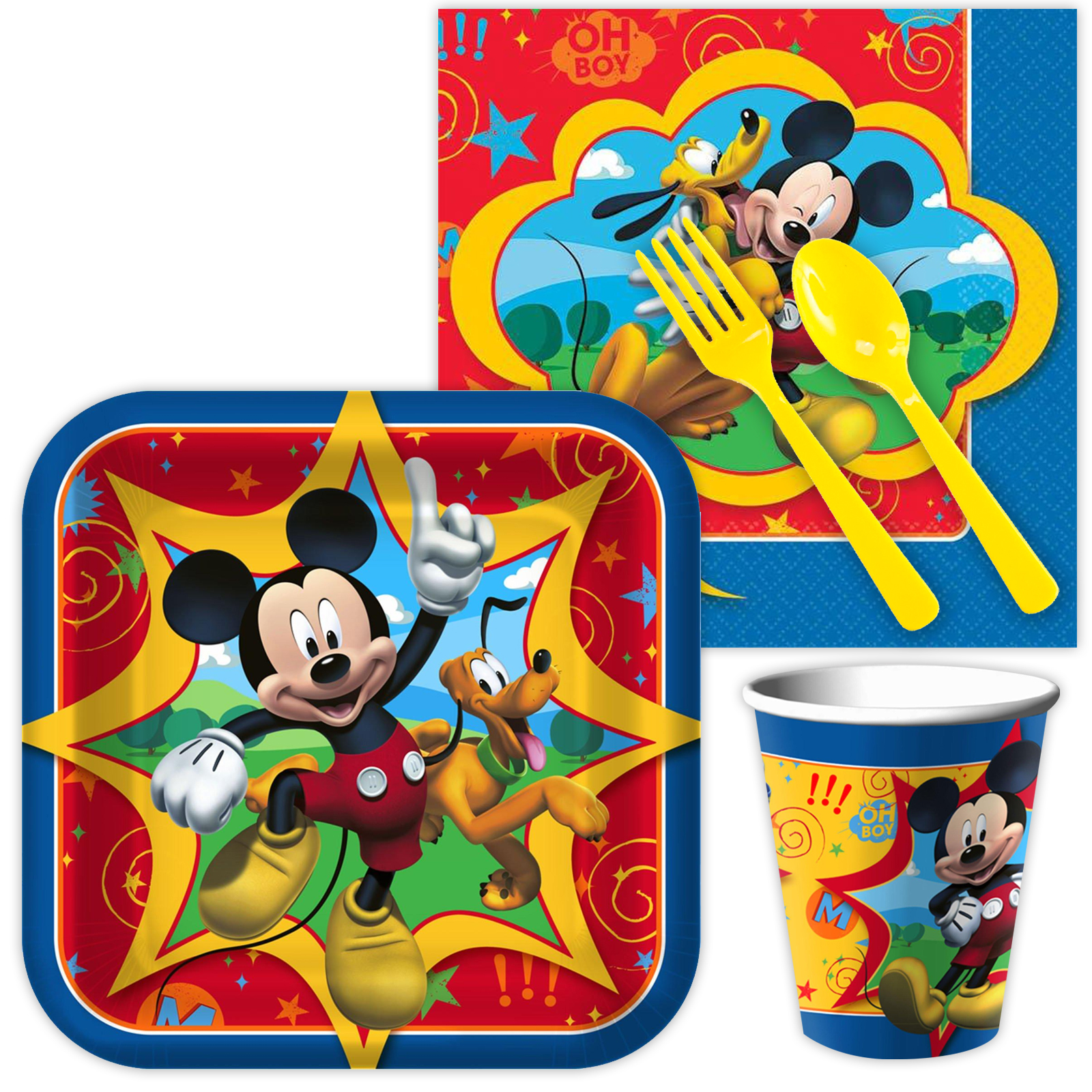 Mickey Mouse Party Supplies Birthday Tableware Kit Serves 8 BBKIT581