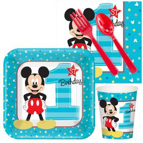 Mickey's 1st Birthday Standard Tableware Kit Serves 8