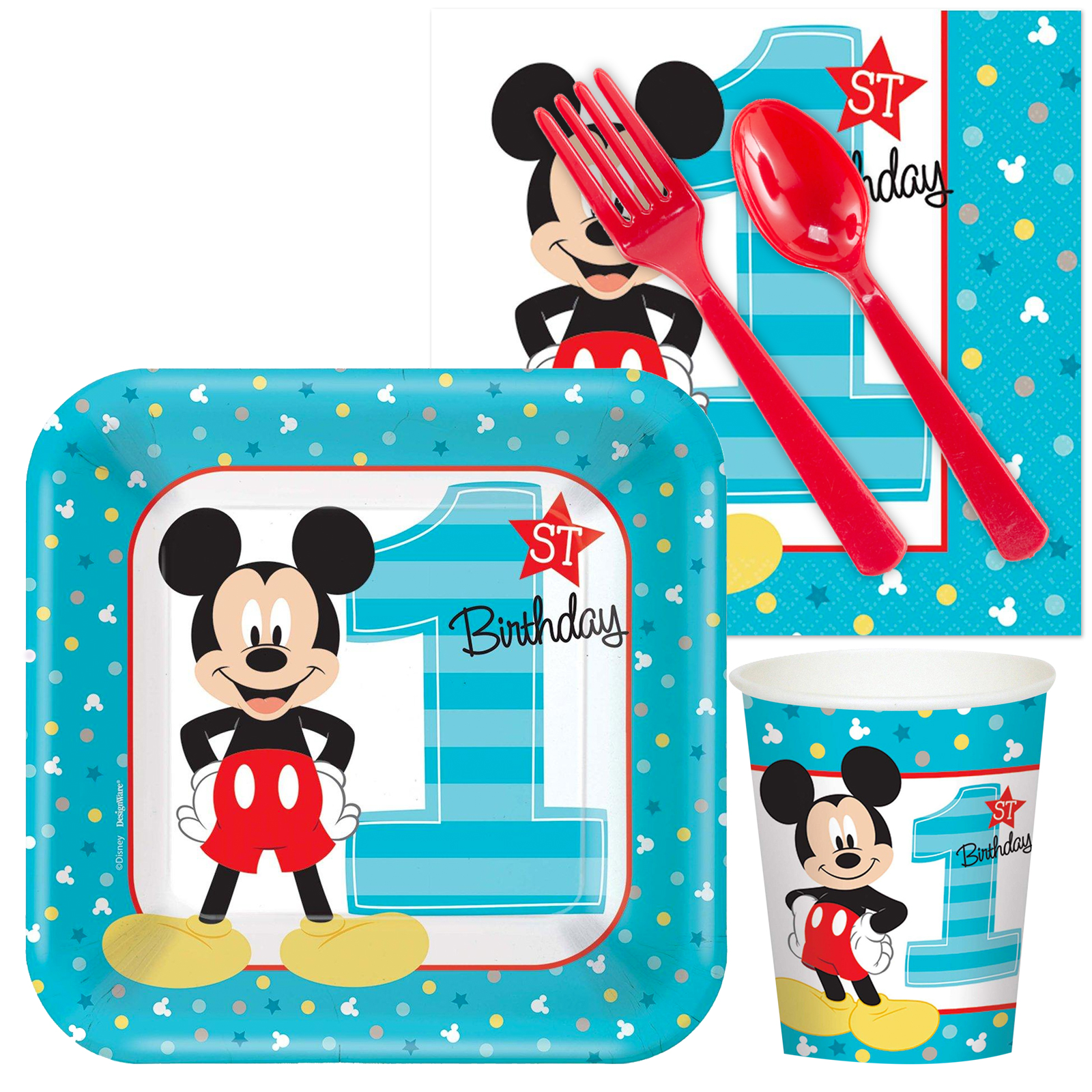 Mickey's 1st Standard Tableware Party Supplies Kit BB102093