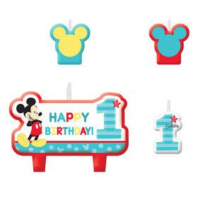 Mickey's Fun To Be One Candle Set (4 Candles)