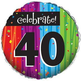 Milestone Celebrations 40Th Birthday Metallic Balloon (Each)