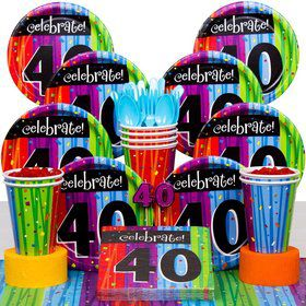 Milestone Celebrations 40Th Birthday Party Deluxe Tableware Kit