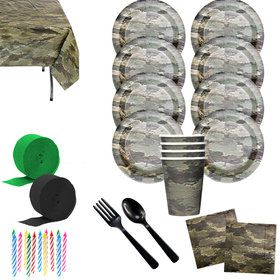 Military Camo Deluxe Tableware Kit (Serves 8)