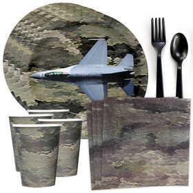 Military Camo Fighter Jet Standard Tableware Kit (Serves 8)
