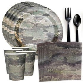 Military Camo Standard Tableware Kit (Serves 8)