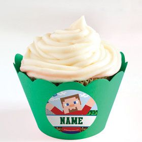 Mine Blocks Personalized Cupcake Wrappers (Set of 24)