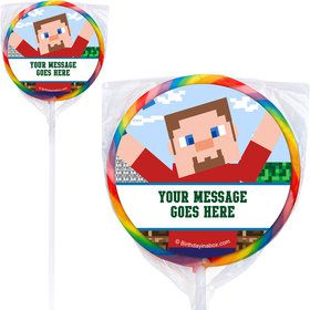 Mine Blocks Personalized Lollipops (12 Pack)