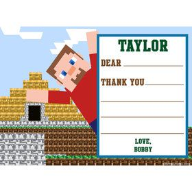 Mine Blocks Personalized Thank You Note (Each)