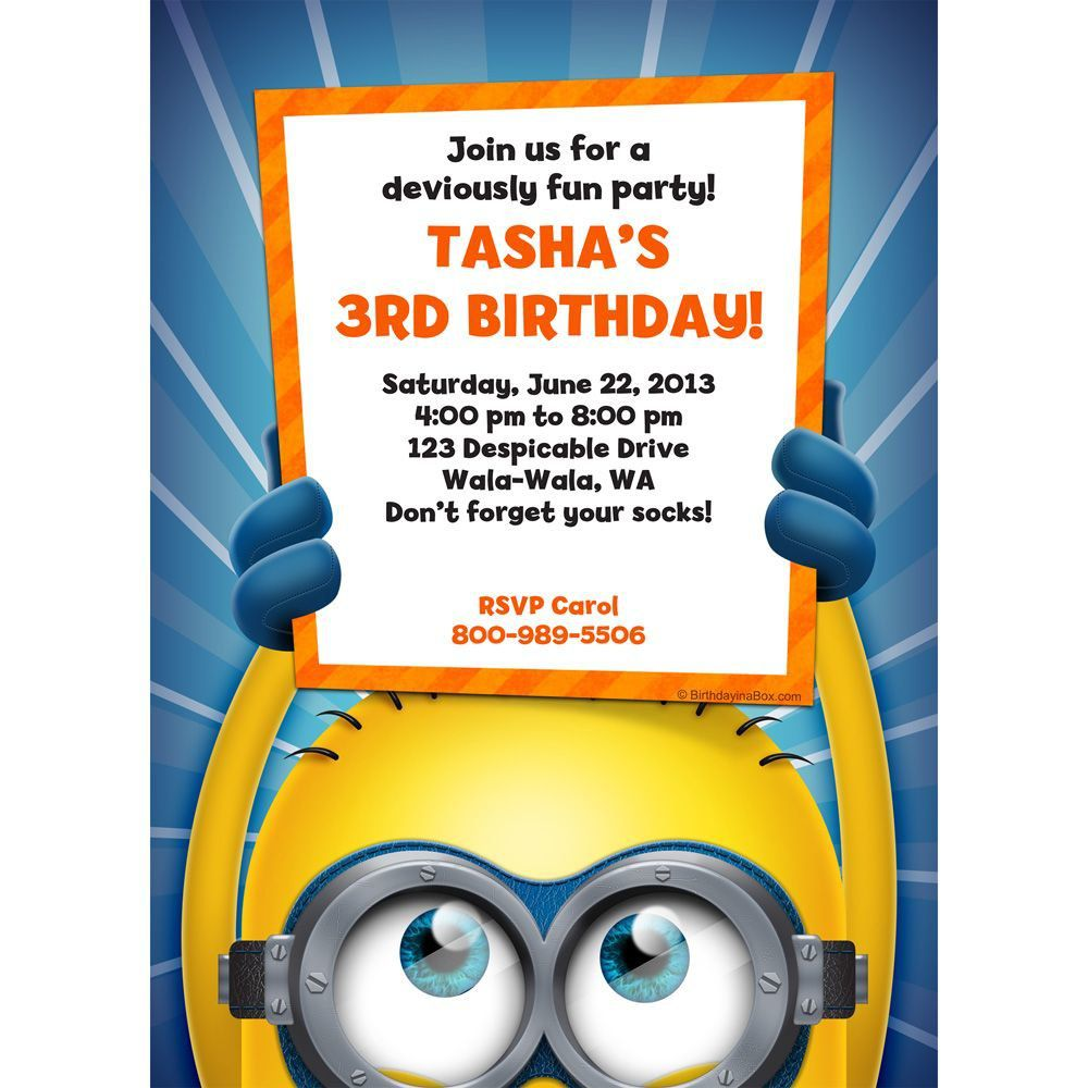Despicable me invitation party supplies minion personalized invitation each stopboris Images
