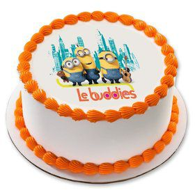 "Minions Le Buddies 7.5"" Round Edible Cake Topper (Each)"
