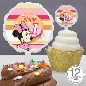 Minnie 1St Bday Personalized Cupcake Picks (12 Count)