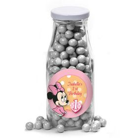 Minnie 1St Bday Personalized Glass Milk Bottles (10 Count)