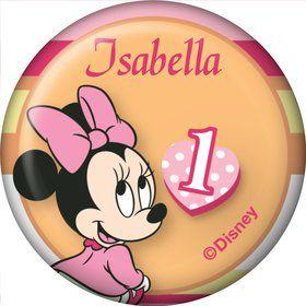 Minnie 1st Bday Personalized Mini Button (Each)