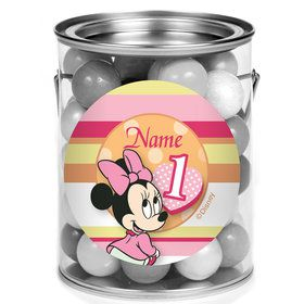 Minnie 1St Bday Personalized Mini Paint Cans (12 Count)