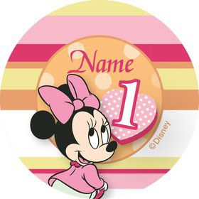 Minnie 1st Bday Personalized Mini Stickers (Sheet of 24)