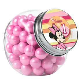 Minnie 1St Bday Personalized Plain Glass Jars (12 Count)
