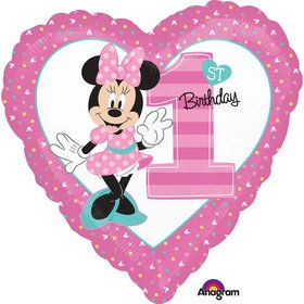 "Minnie 1st Birthday 19"" Heart Balloon (Each)"