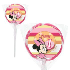 "Minnie 1st Birthday Personalized 2"" Lollipops (20 Pack)"