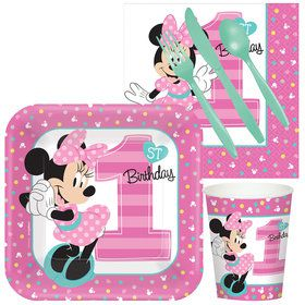 Minnie 1st Birthday Standard Tableware Kit Serves 8