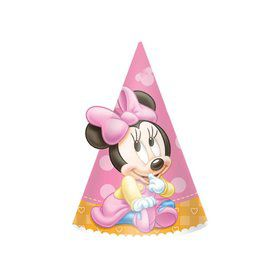 "Minnie Mouse 1st Birthday 6"" Paper Cone Hats (8 Pack)"