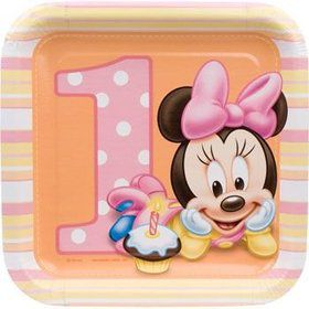Minnie Mouse 1st Birthday Cake Plates (8-pack)