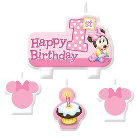 Minnie Mouse 1st Birthday Candle Set (4 Pack)