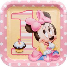 Minnie Mouse 1st Birthday Dinner Plates (8-pack)