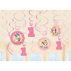 Minnie Mouse 1st Birthday Hanging Swirl Decorations (12 Pack)