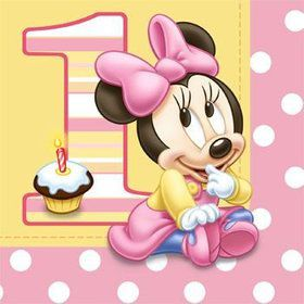 Minnie Mouse 1st Birthday Napkins (16-pack)