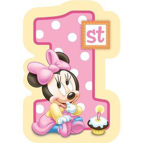 Minnie Mouse 1st Birthday Postcard Invitation (8 Pack)
