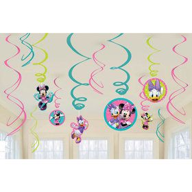 Minnie Mouse Hanging Swirl Decorations (12 Pack)