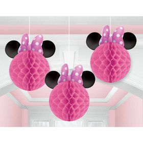 Minnie Mouse Honeycomb Decorations (3 Count)