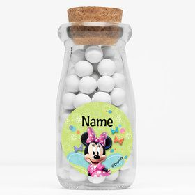 "Minnie Mouse Personalized 4"" Glass Milk Jars (Set of 12)"