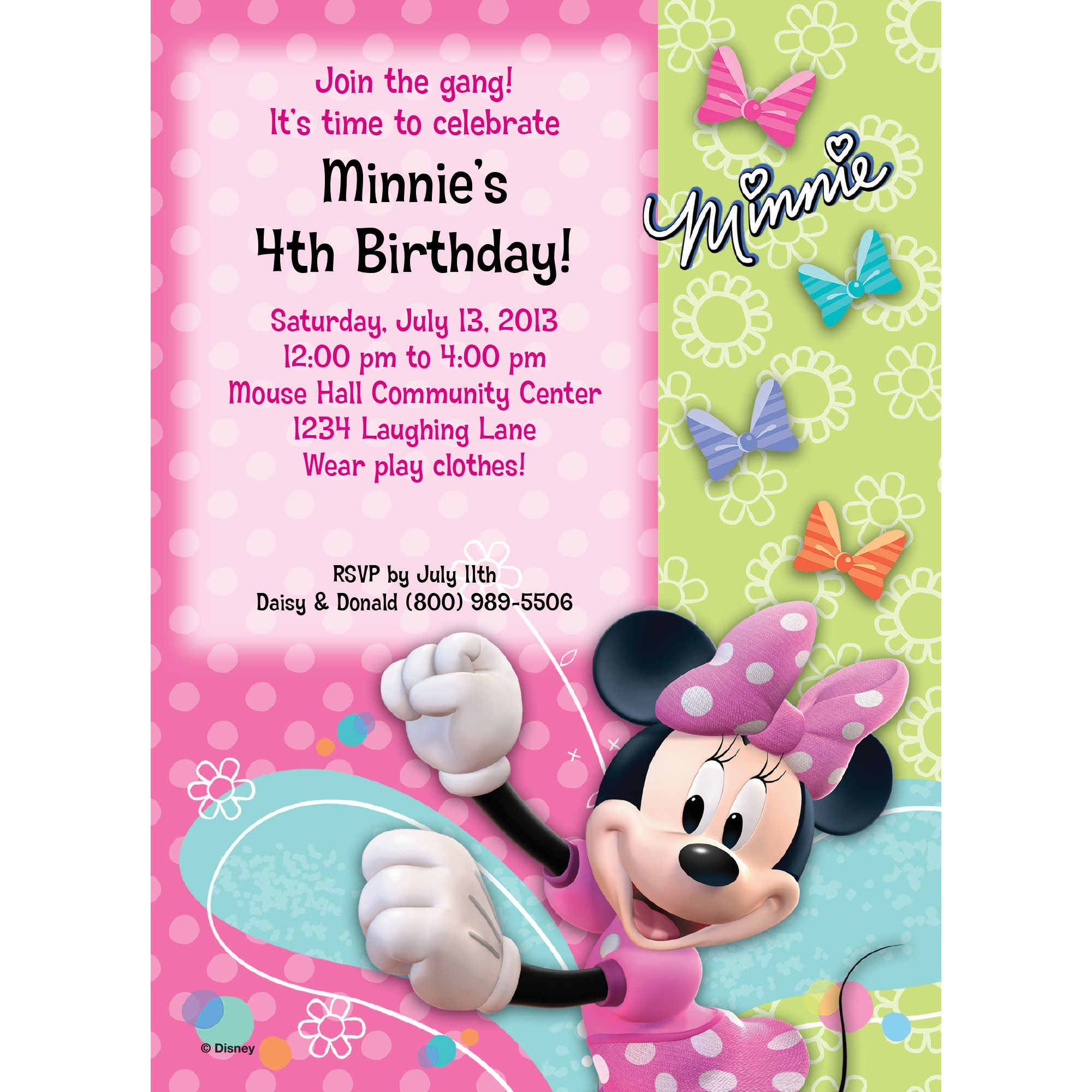 Minnie Mouse Personalized Invitation (Each) BB1332IN