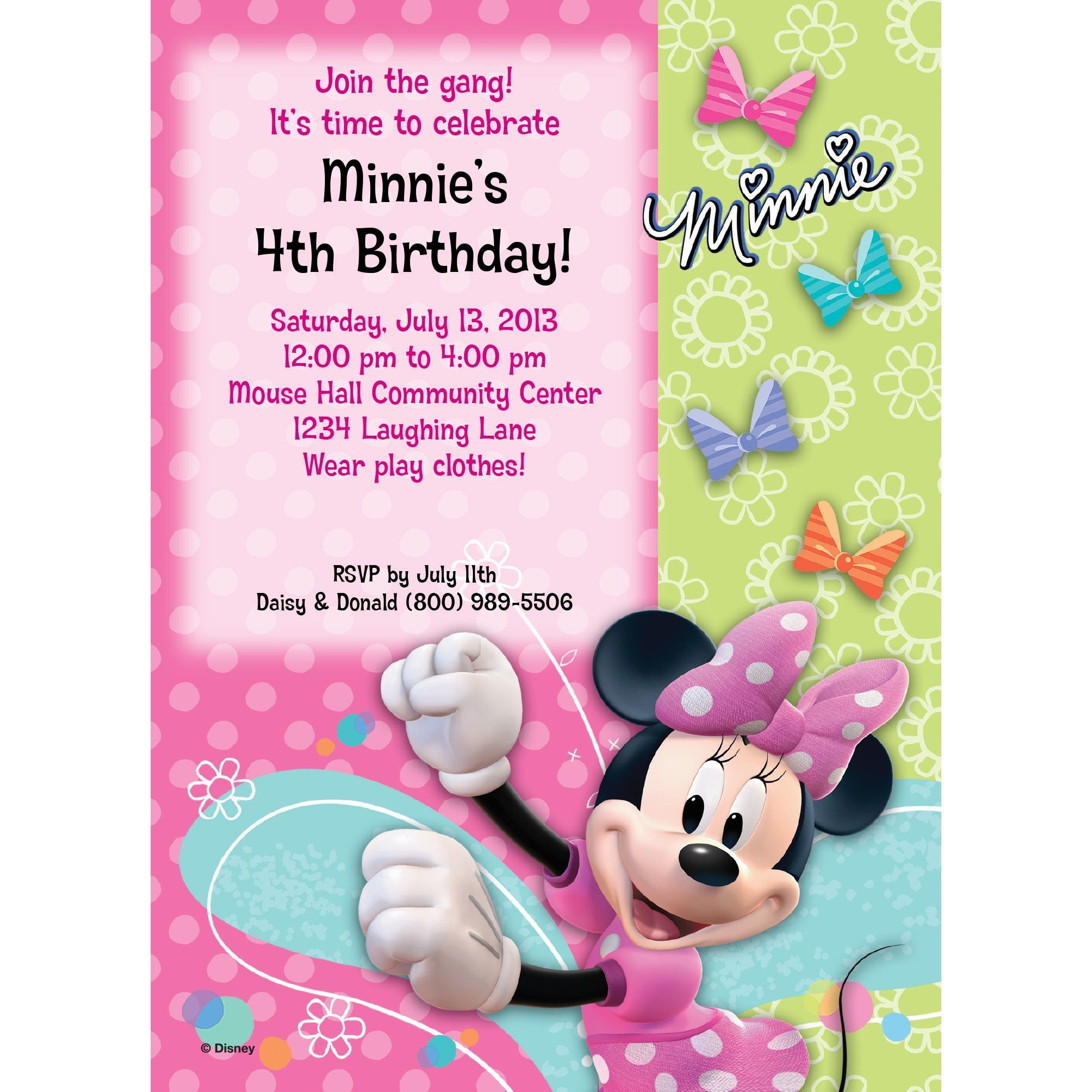 Miss Mouse Invitation - Party Supplies