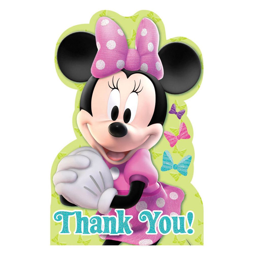 Minnie Mouse Postcard Thank You Cards (8 Pack) - Party Supplies BB486597
