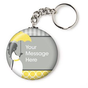 "Mod Baby Shower Personalized 2.25"" Key Chain (Each)"