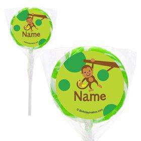 "Monkey Party Personalized 2"" Lollipops (20 Pack)"
