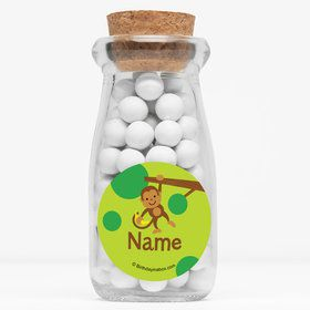 "Monkey Party Personalized 4"" Glass Milk Jars (Set of 12)"