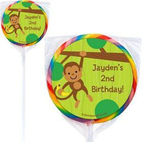 Monkey Party Personalized Lollipops (pack of 12)