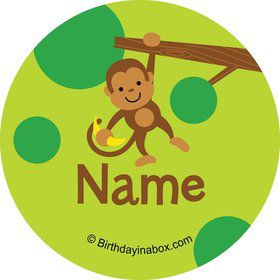 Monkey Party Personalized Mini Stickers (Sheet of 24)