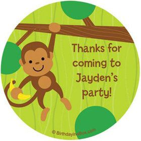 Monkey Party Personalized Stickers (sheet of 12)