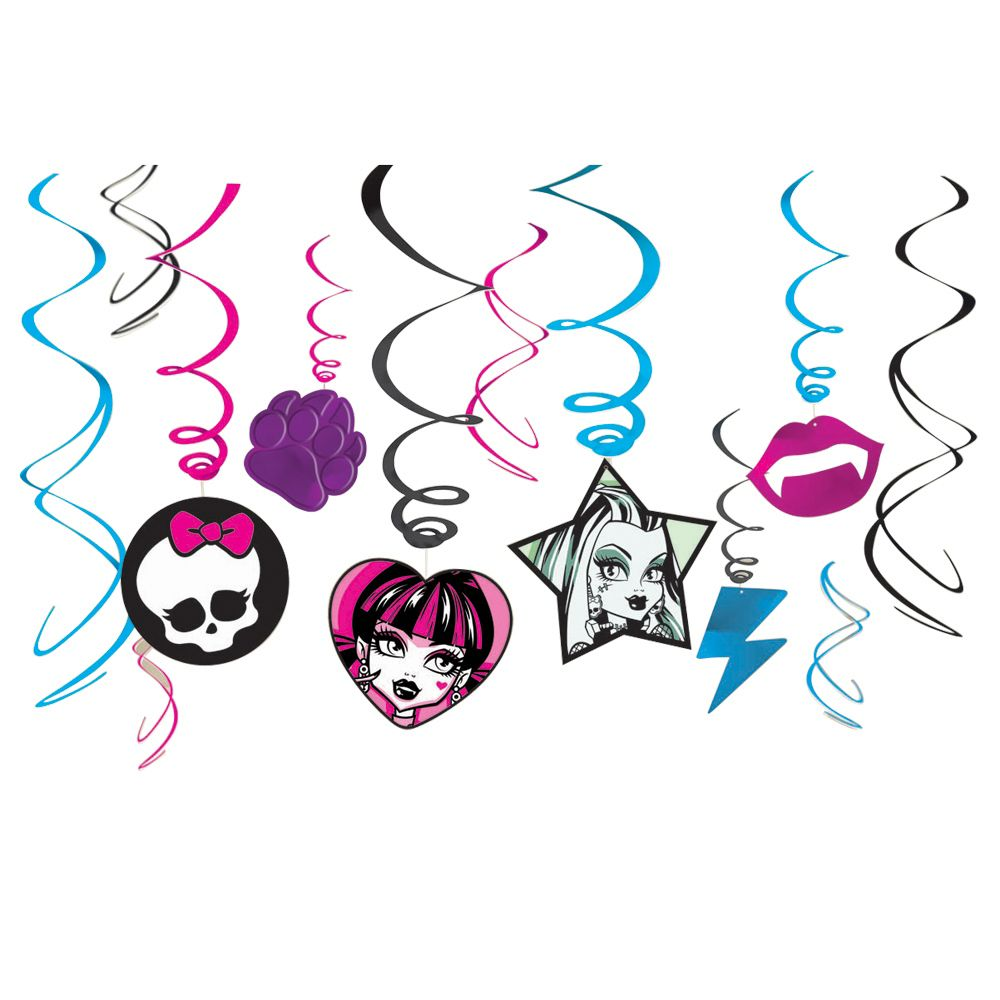 Monster High Swirl Cutouts - Party Supplies