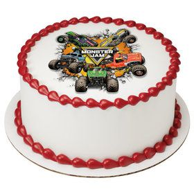 "Monster Jam 7.5"" Round Edible Cake Topper (Each)"