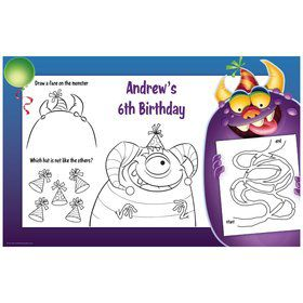 Monster Party Personalized Activity Mats (8-Pack)