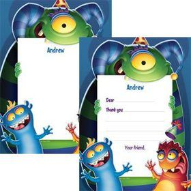 Monster Party Personalized Thank You Note (each)